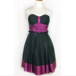 Betsey Johnson Purple Black Silk Cocktail Dress